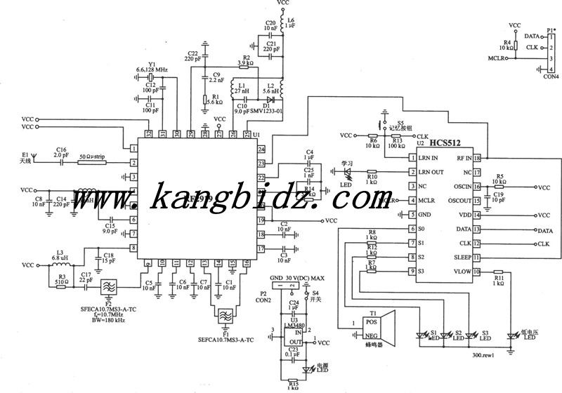 电路结构与工作原理 无线呼叫系统由语音无线发射/接收模块、数据无线发射/接收模块、数字编/译码双功能集成电路等元器件组成。 图1为无线呼叫系统发射电路,IC1(UM758-108A)是数字编/译码双功能集成电路,工作电压为3~12V,有10