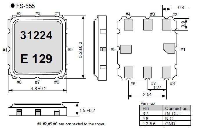 声表面谐振器fs-555,汽车电子晶振,八脚smd晶振