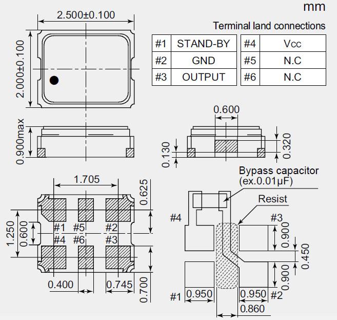 nz2520sea有源晶振,四脚贴片振荡器
