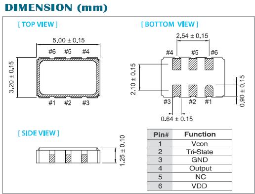 vw-5032有源晶体,压控振荡器,泰艺六脚贴片晶振